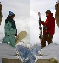 горные лыжи или сноубординг
